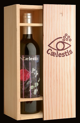 Caelestis case with biodynamic wine label by Peter Doig